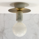 Carrara White Marble Sconce Patina Bronze